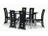 stunning back and silver dining table & 6 chairs