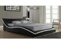 King size leather bed for sale(black and cream)frame only