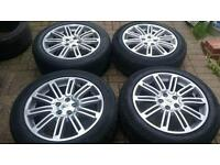 "GENUINE LAND ROVER 20"" ALLOY WHEELS SUPERB TYRES 5X120 DISCOVERY HSE 4 VW T5 RANGE ROVER BMW"