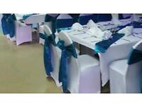 Chair covers and table centerpieces for hire