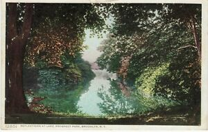 Antique-POSTCARD-c1910-Reflections-Lake-Prospect-Park-BROOKLYN-NY-NYC