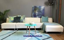 GORGEOUS King Furniture HOUDINI 3 pc LEATHER MODULAR w/ CHAISE Sydney Region Preview