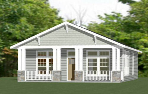 30x40 House -- 3 Bedroom 2 Bath -- 1,200 sq ft -- PDF Floor Plan -- Model 2B