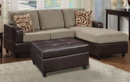 Brand New Micro Suede 3 Seat Chaise Sofa FREE Ottoman & Cushions Bayswater Bayswater Area Preview