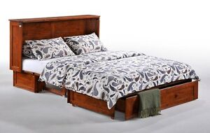 NEW!  Murphy Cabinet Bed with Memory Foam Mattress! 2 Colours!