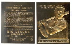 1933 BABE RUTH GOUDEY #53 *Big League Chewing Gum* 23K GOLD CARD **$4.95**