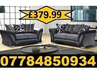 3+2 FABRIC 3+2 SOFA IN BLACK AND SILVER