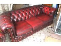 Chesterfield 3 piece oxblood leather suite.