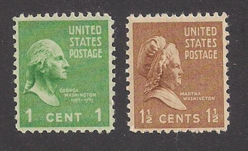 GEORGE & MARTHA WASHINGTON - 2 U.S. POSTAGE STAMPS (1938) - MINT CONDITION