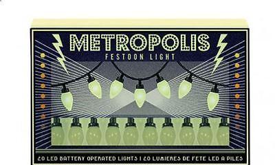 set of 20 LED vintage retro festoon style METROPOLIS party decorative