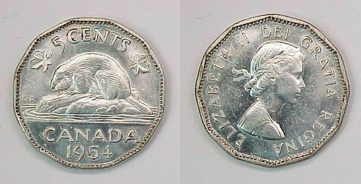 1954 Canadian Nickel Canada Five Cents BU Brilliant Uncirculated