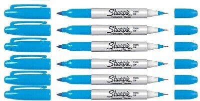 Sharpie Permanent Marker Turquoise Twin Tip Ultra Fine Fine Point - 6 Pk