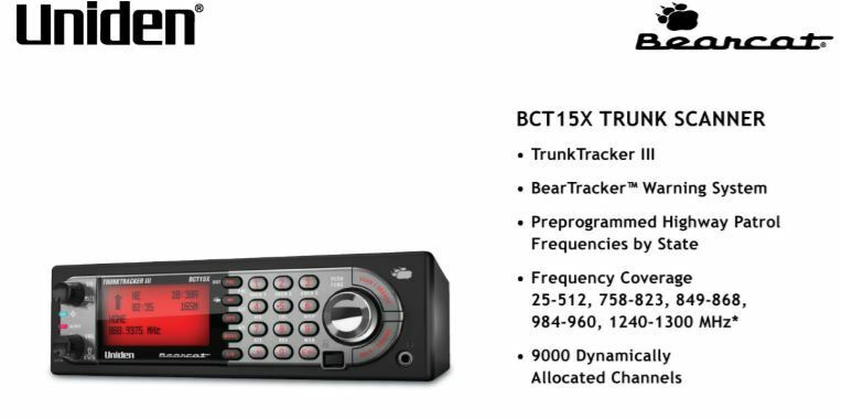 Uniden Bearcat BCT15X Mobile Trunking Scanner w/ GPS Support