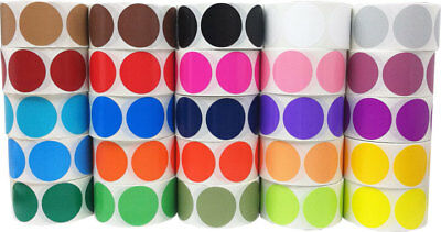 Circle Dot Stickers, 2 Inches Round, 58 Color Choices, 500 Labels on a Roll - Colored Dot Stickers