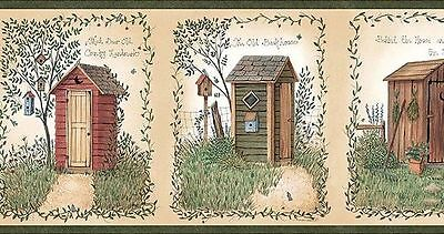Outhouses with Country Sayings Easy Walls Wallpaper Border CTR50321B