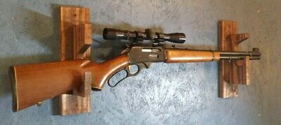 Wooden gun rack unfinished pine with amo drawer hand made holds 2 guns
