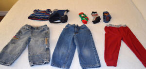 Jeans, socks, long johns and winter hats size 2