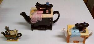 Ornamental 3 Tea Pot  Set - Sewing Machine Theme