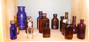 Antique glass bottles & jars
