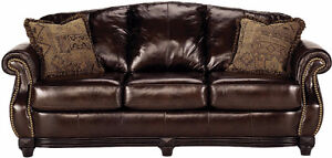 95% New All Leather Couch, Original Over $2900, Can Deliver