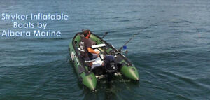 Stryker Inflatables now at Alberta Marine . Portable fish boats!
