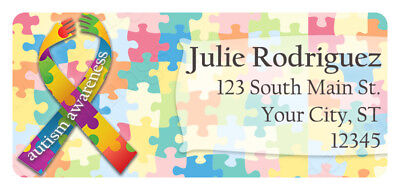 60 Autism Awareness Support Ribbon Puzzle Personalized Return Address Labels