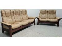 Ekornes Stressless 3 seater & 2 seater recliner leather sofas beige 100721