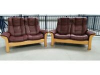 Ekornes Stressless 2 x 2 seater recliner leather sofas burgundy 66202
