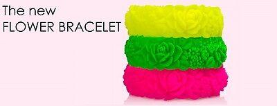 Bracciale FLOWER Fluo silicone Fullspot oclock colorati bracciali fiori Big nuov