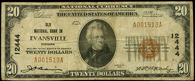 20 Evansville Indiana Old National Bank 1929  12444 National Currency