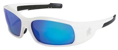 Crews Swagger Safety Glasses White Frame and Blue Diamond Mirror Lens