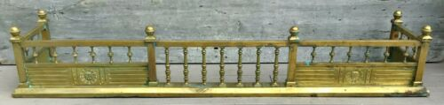 "Exceptional Antique 19th c. Aesthetic Brass 59"" Ball Finials Fireplace Fender"