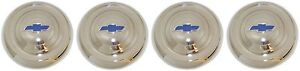 1951 1952 1953 CHEVROLET HUBCAPS SMALL STYLE WITH BLUE PAINTED DETAILS SET OF 4