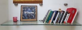 Used Clear Glass Floating Wall-Mounted Shelf