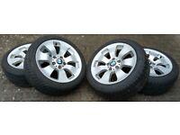 "4 Genuine BMW 17"" Alloy Double Spoke 158 Winter Wheels with Run Flat Tyres (225/45 R17)"