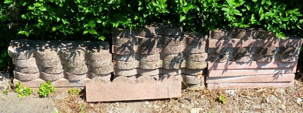25 SCALLOPED GARDEN EDGING STONES RED | in Clifton, Nottinghamshire |  Gumtree