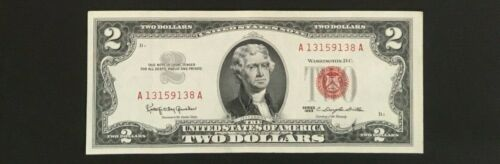 1963 Red Seal Note 2 Dollar Bill Federal Reserve Uncirculated