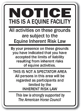 Supplemental Equine Liability Sign warning statute horse barn stable farm signs on Rummage