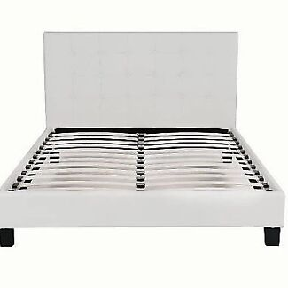 Brand New PU Leather Bed Frame White Franch Button Style
