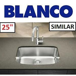 "NEW BLANCO UNDERMOUNT KITCHEN SINK - 122543628 - ONE STAINLESS STEEL 25"" SINGLE BASIN"