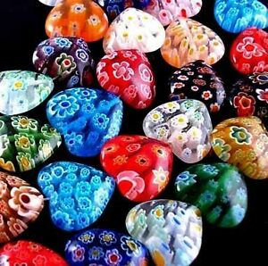 Lots-100pc-Multi-Colored-Shining-Heart-Lampwork-Millefiori-Glass-Beads-6mm-032