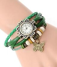 VINTAGE RETRO BEADED BRACELET LEATHER WOMEN WRIST WATCH - BUTTERFLY GREEN