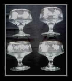 HAND-PAINTED DESSERT GLASSES - SET OF 4 - FOR SALE