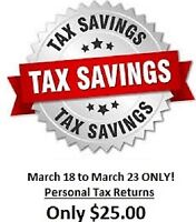 One Week Sale ONLY! Personal Taxes!