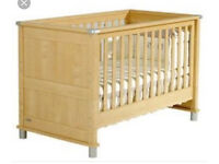 Mamas and papas Modensa Cot Bed, shelf unit and changing table