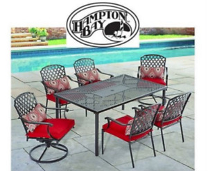 Brand NEW inbox Hampton Bay 7 Piece Patio Set with Red Cushions