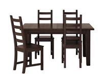 Ikea Table and 4 chairs - KAUSTBY/STORNÄS in black/brown. Better than 50% off new - Available NOW!