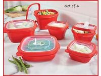 Set of 6 storage tubs with vented lids