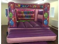 Kids Pink Part Time Inflatable Bouncy Castle - Commercial Grade For Sale