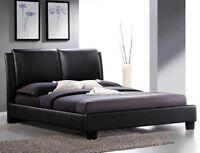 Base de lit *QUEEN Roggan, lit, tete de lit, blanche, noir, brun